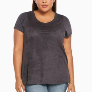 TORRID Perforated Faux Suede Tee--Size 2